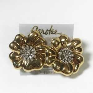 Carolee Gold Flower Clip-On Earrings with Crystals